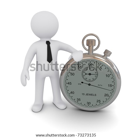 Three-dimensional person with a stopwatch on a white background. - stock photo