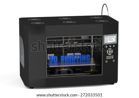 Three dimensional printer in action  isolated on white background - stock photo