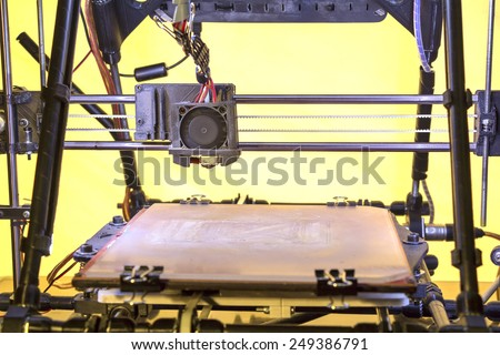 Three dimensional printer, Printing with Plastic Wire - stock photo