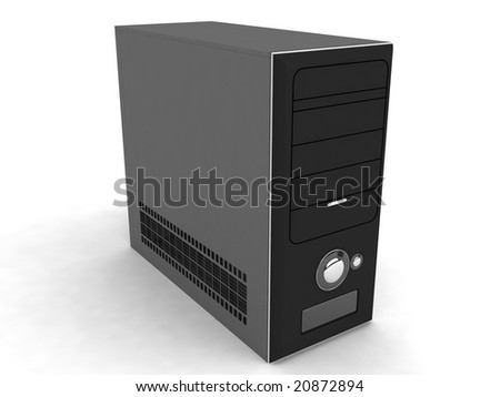 three dimensional processor on an isolated background - stock photo