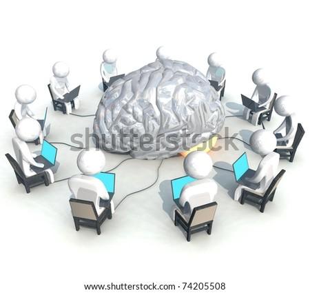 three-dimensional, programmer, brain - stock photo