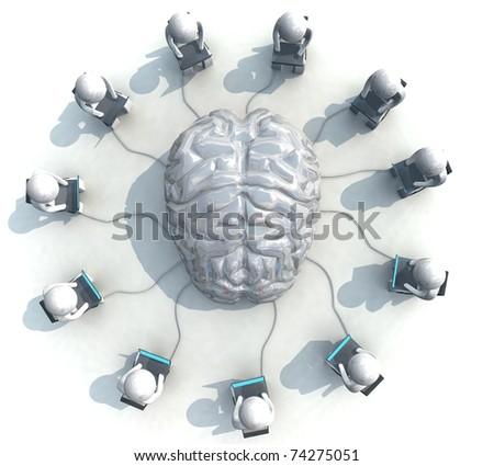 three-dimensional, programmer,  brain, - stock photo