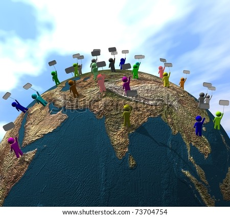 three-dimensional, protest of people across the earth - stock photo
