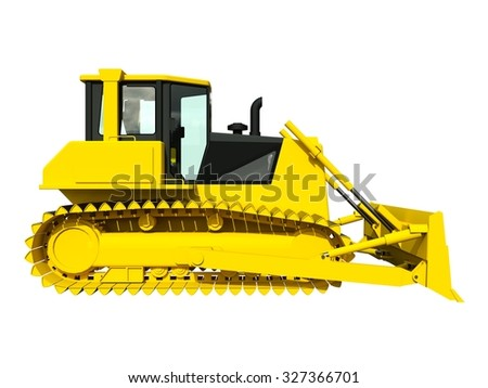 Three-dimensional raster illustration of a bulldozer. Yellow bulldozer. Construction machinery