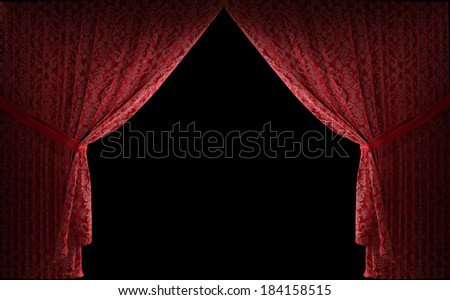 three dimensional realistic stage curtains with a black background - stock photo