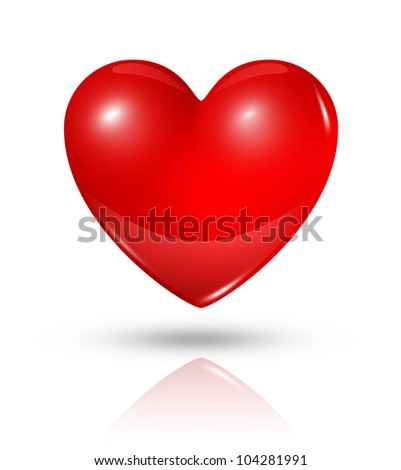 three dimensional red heart isolated on white with clipping path