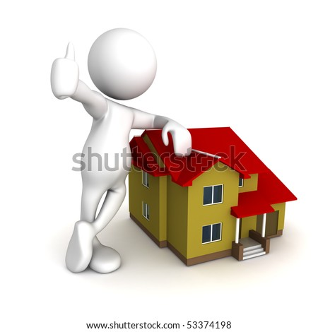 Three dimensional render of a cartoon human figure, standing over a house. Conceptual for real-estate - stock photo