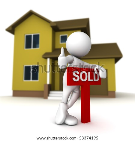 Three dimensional render of a cartoon human figure, standing over a SOLD sign, with a home in the background. - stock photo