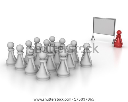 Three dimensional render of a crowd of pawns attending a seminar. Concept for training. - stock photo