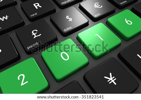 Three dimensional render of a modern keyboard with 2016 and currencies