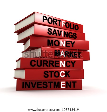 Three dimensional render of a pile of books that make up the word FINANCE - stock photo