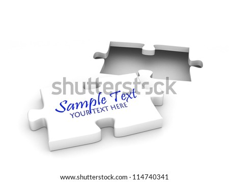 Three dimensional render of a puzzle piece that fits the missing hole - with sample text - stock photo