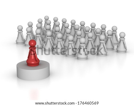 Three dimensional render of a red pawn addressing a large group. Concept for Leadership. - stock photo