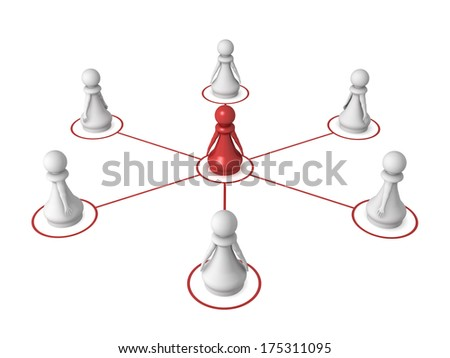Three dimensional render of a red pawn connected to other pawns. Concept for networking. - stock photo