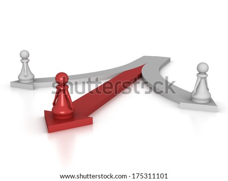 Three dimensional render of a red pawn goimg in the right direction. Concept for success. - stock photo
