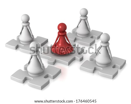 Three dimensional render of a red pawn lady heading a team. Concept for Leadership. - stock photo