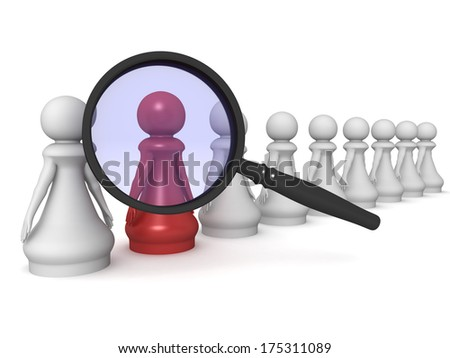 Three dimensional render of a red pawn under a magnifying glass. Concept for selection. - stock photo