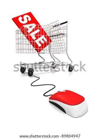 Three dimensional render of a shopping trolley connected to a computer mouse. Concept for on-line shopping and sale. - stock photo