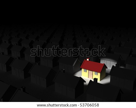 Three dimensional render of a spotlight on a new house amongst bland houses. Standing out in the crowd concept. - stock photo