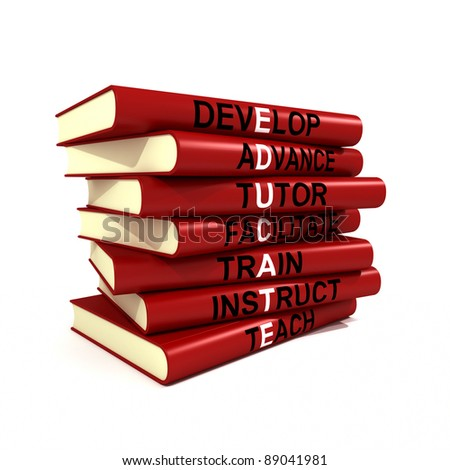 Three dimensional render of a stack of books each with a topic forming a part of the word educate - stock photo