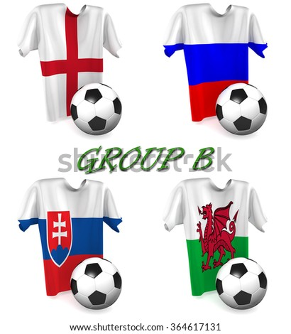 Three dimensional render of a t-shirt and ball depicting the four teams in group B - stock photo