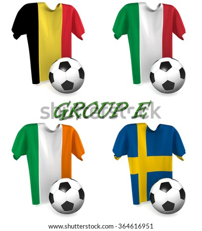Three dimensional render of a t-shirt and ball depicting the four teams in group E - stock photo