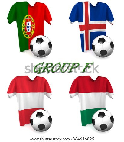 Three dimensional render of a t-shirt and ball depicting the four teams in group F - stock photo