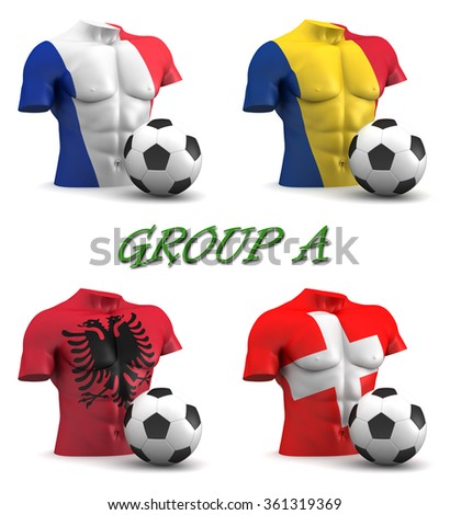 Three dimensional render of a torso and ball depicting the four teams in group A - stock photo