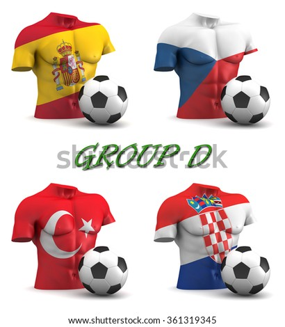Three dimensional render of a torso and ball depicting the four teams in group D - stock photo