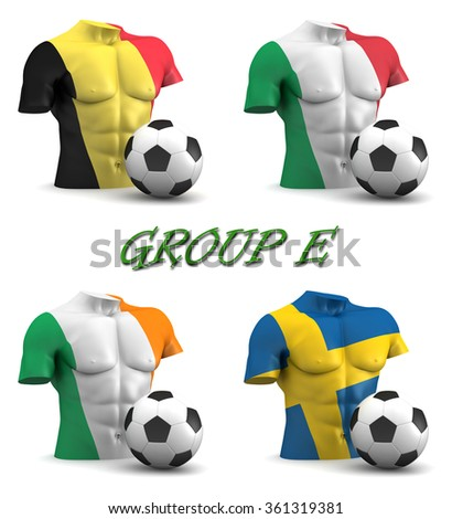 Three dimensional render of a torso and ball depicting the four teams in group E - stock photo