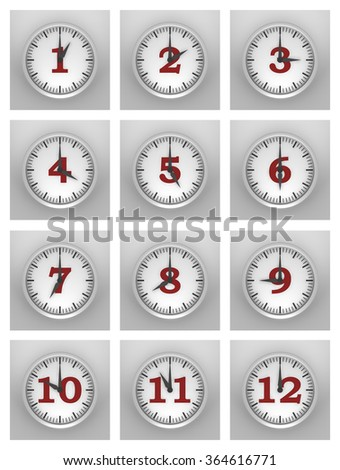 Three dimensional render of all the hours in a day - stock photo