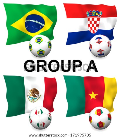Three dimensional render of Group A of the worlds greatest soccer competition to be held in 2014 - stock photo