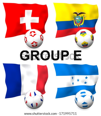Three dimensional render of Group E of the worlds greatest soccer competition to be held in 2014 - stock photo