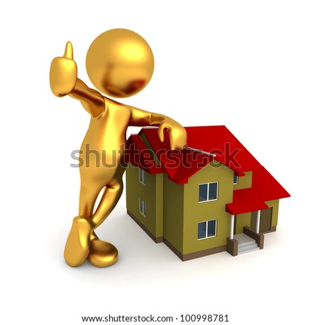 Three dimensional render of Mr Goldman leaning against a house, thumbs up - stock photo