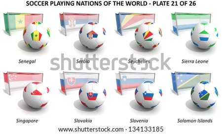 Three dimensional render of soccer playing nations. Plate 21 of 26 - stock photo