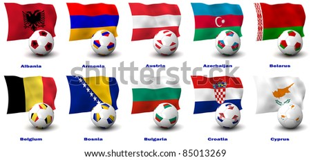 Three dimensional render of ten of Europe's best Football Nations. 1 of 5 in this series. - stock photo
