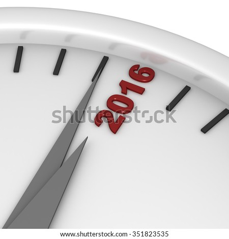 Three dimensional render of 2016 text and a clock