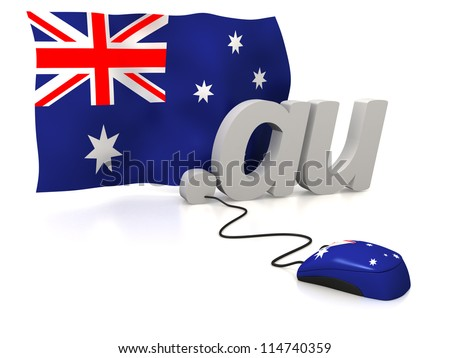 Three dimensional render of the Australian domain and flag connected to a mouse - stock photo