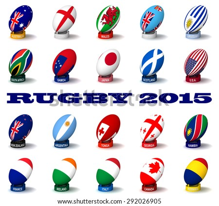 Three dimensional render of the flags and names of the nations participating in Rugby 2015 - stock photo