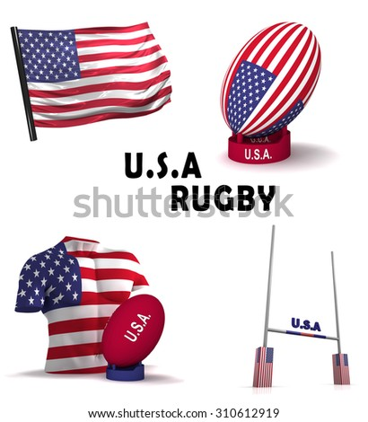 Three dimensional render of the symbols of American rugby - stock photo