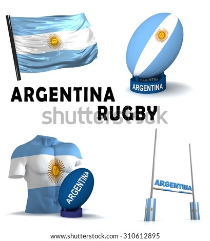 Three dimensional render of the symbols of Argentinian rugby - stock photo