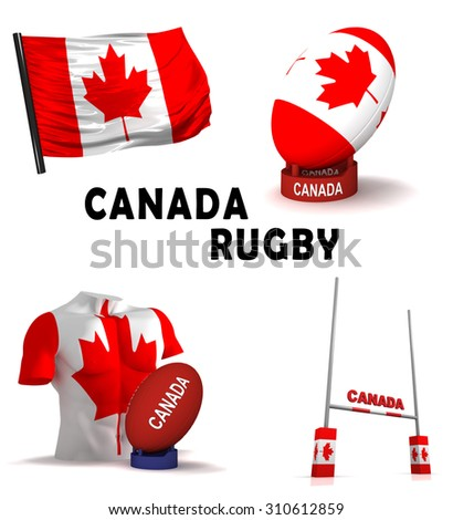 Three dimensional render of the symbols of Canadian rugby - stock photo