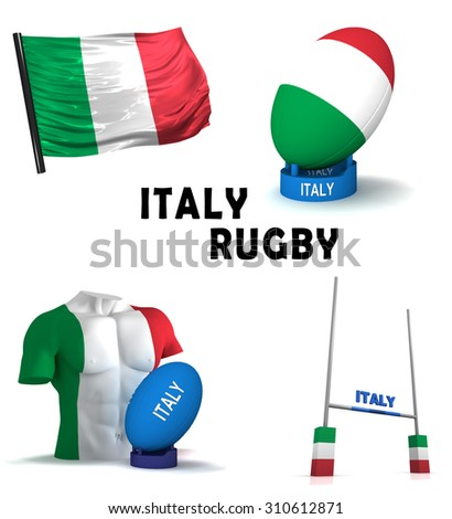Three dimensional render of the symbols of Italian rugby - stock photo