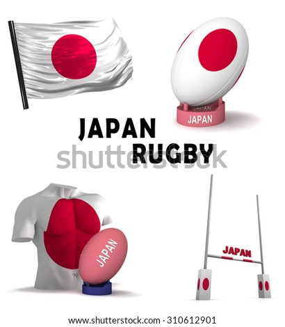 Three dimensional render of the symbols of Japanese rugby - stock photo