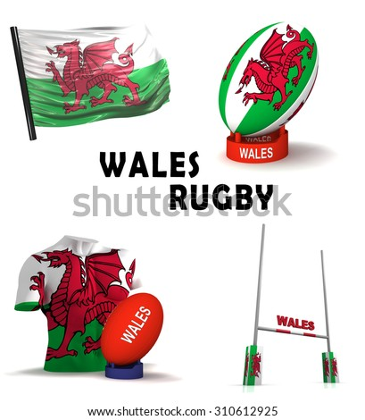 Three dimensional render of the symbols of Welsh rugby - stock photo