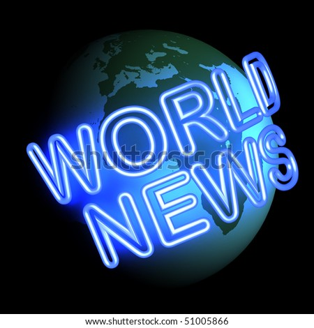 Three dimensional render of the words WORLD NEWS circulating around the globe. - stock photo