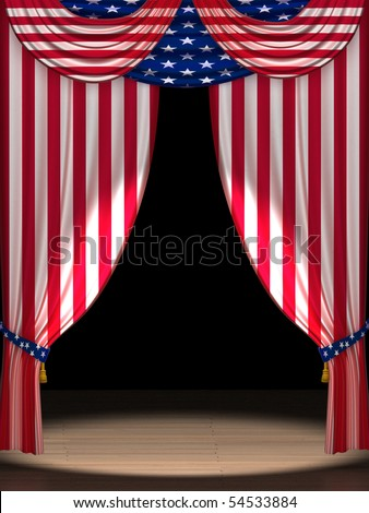 Three dimensional render of theater curtains in the colors of the USA flag with a spotlight on stage,. Perfect for 4th of July celebrations. - stock photo