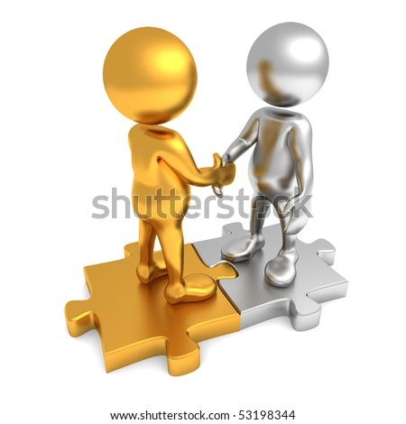 Three dimensional render of two cartoon human figures, shaking hands while standing on puzzle pieces. One figure is golden and the other is silver in color. - stock photo