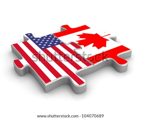 Three dimensional render of two puzzle pieces, each with a flag on it, joined together - stock photo