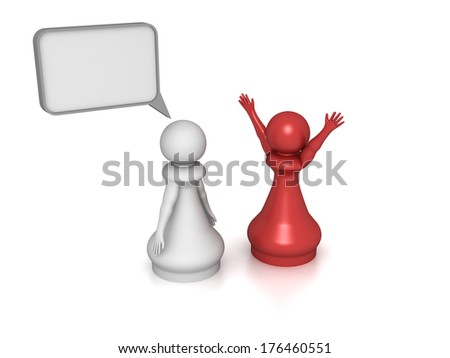 Three dimensional render two pawns talking to each other. Concept for success. - stock photo